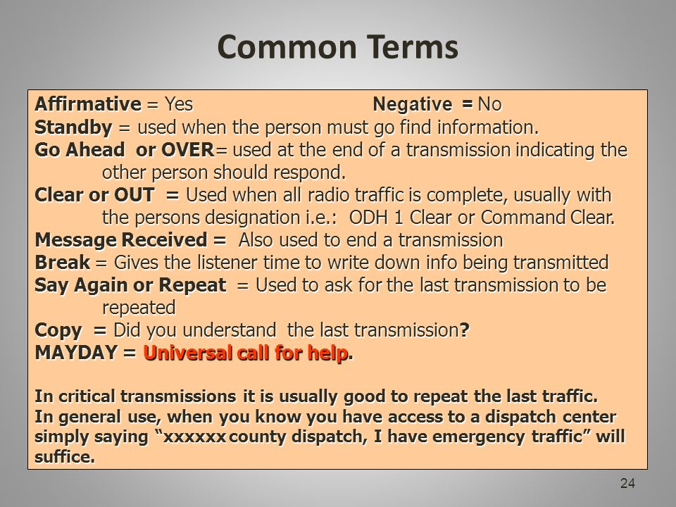 Common Terms 24 Affirmative = Yes Negative = No Standby = used when the person must go find information.