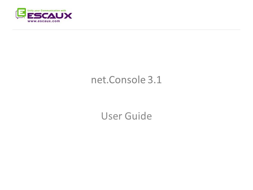 The net.Console User Manual net.Console 3.1 User Guide