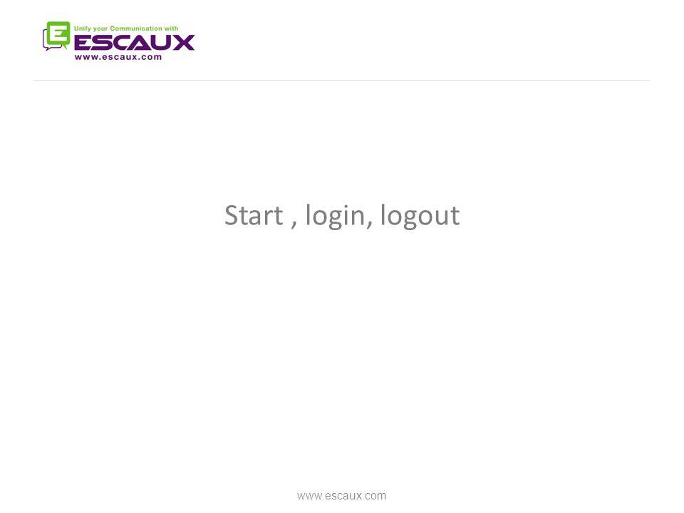 Start, login, logout www.escaux.com