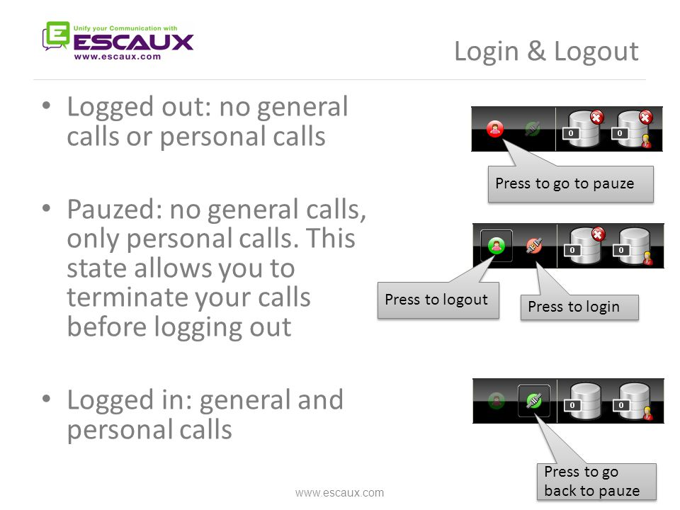 Answer a call www.escaux.com 1.Call enters general queue 2.Queue counter increments 3.Phone rings 4.Line 1 displays incoming call 5. Accept button lits up 6.Accept call 1.Via mouse click on Accept button 2.Or via the Enter key 7.Line 1 status icon changes to conversation 8.Control keys reflect the conversation state