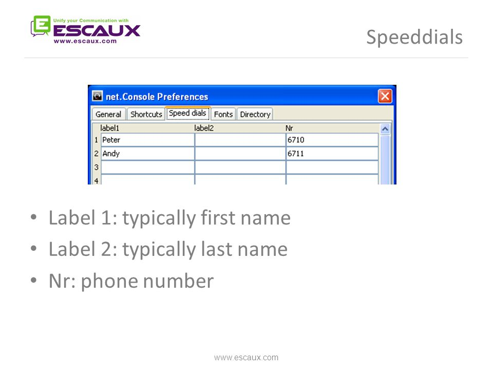 Speeddials Label 1: typically first name Label 2: typically last name Nr: phone number www.escaux.com