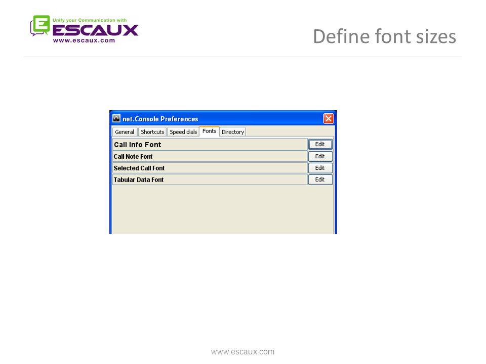 Define font sizes www.escaux.com