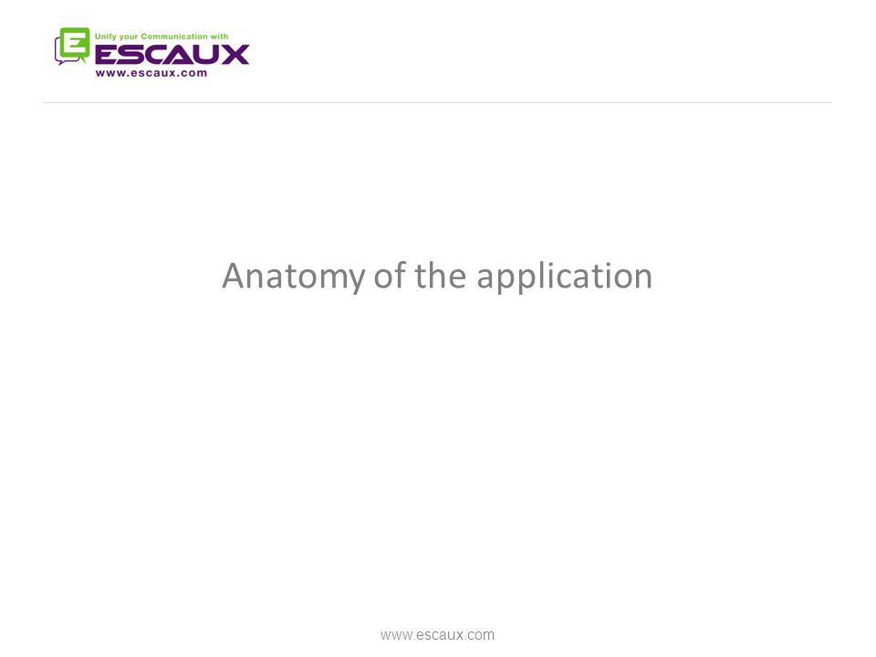 Anatomy of the application www.escaux.com
