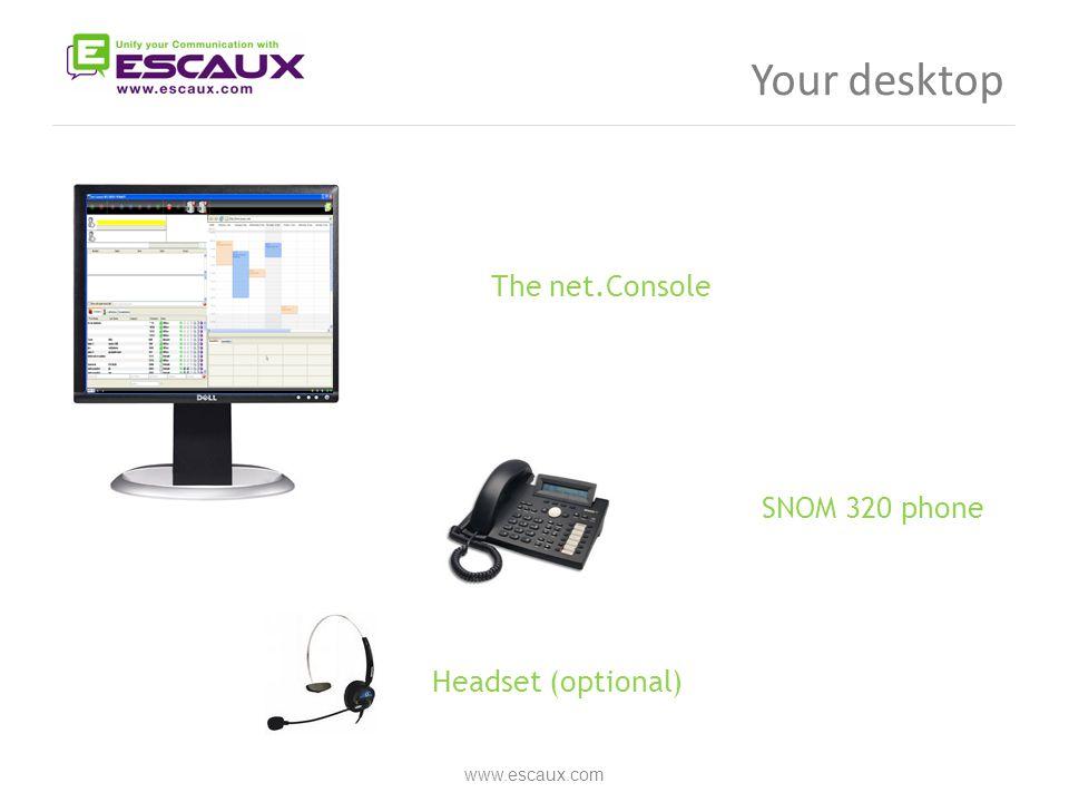 Your desktop www.escaux.com The net.Console  SNOM 320 phone Headset (optional) 