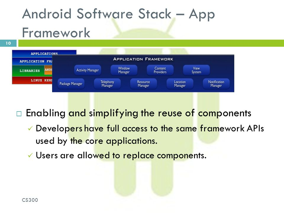 Android Software Stack – App Framework  Enabling and simplifying the reuse of components Developers have full access to the same framework APIs used