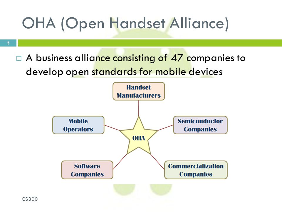 OHA (Open Handset Alliance)  A business alliance consisting of 47 companies to develop open standards for mobile devices CS300 3