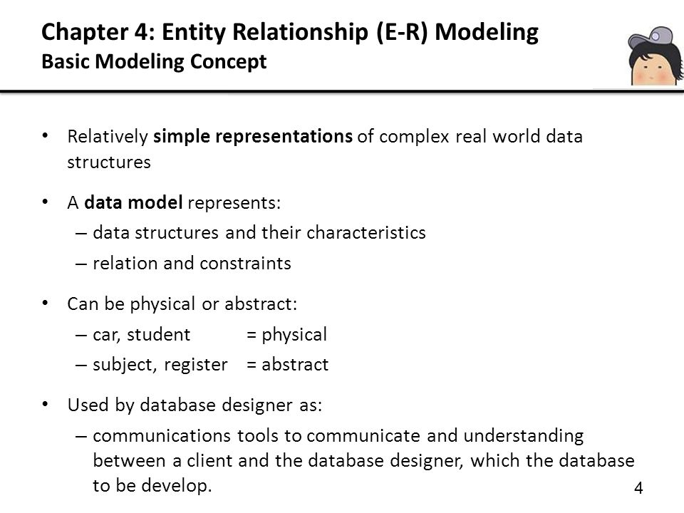 Chapter 4: Entity Relationship (E-R) Modeling Basic Modeling Concept 4 Relatively simple representations of complex real world data structures A data