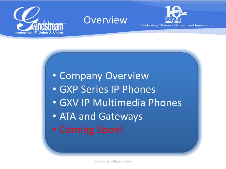 Company Overview Founden in 2002 Over 400 employees Leading manufactuer of IP voice/video telephony and surveillance solutions Serving small-to- medium business and customer markets Locations Hanghou Shenzhen Boston - Headquarter Los Angeles, CA Dallas, TX Casablanca Moerdijk - Warehouse www.grandstream.com US CHN MAR NL