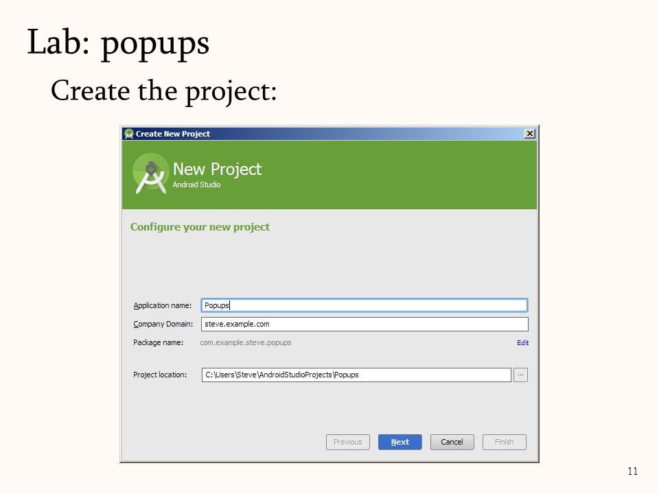 Create the project: Lab: popups 11