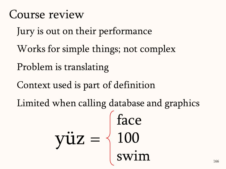 Jury is out on their performance Works for simple things; not complex Problem is translating Context used is part of definition Limited when calling database and graphics 166 yüz = face 100 swim Course review