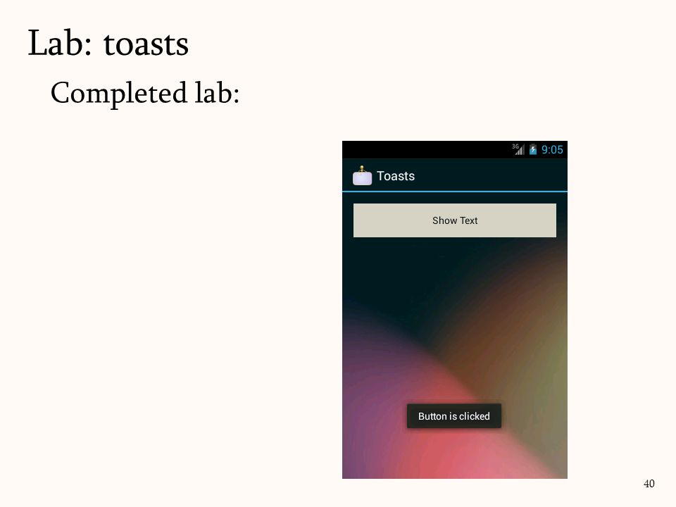 Completed lab: Lab: toasts 40