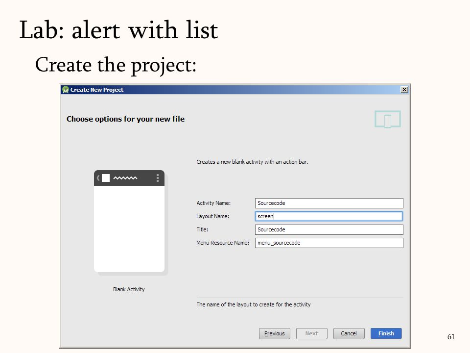 Create the project: Lab: alert with list 61