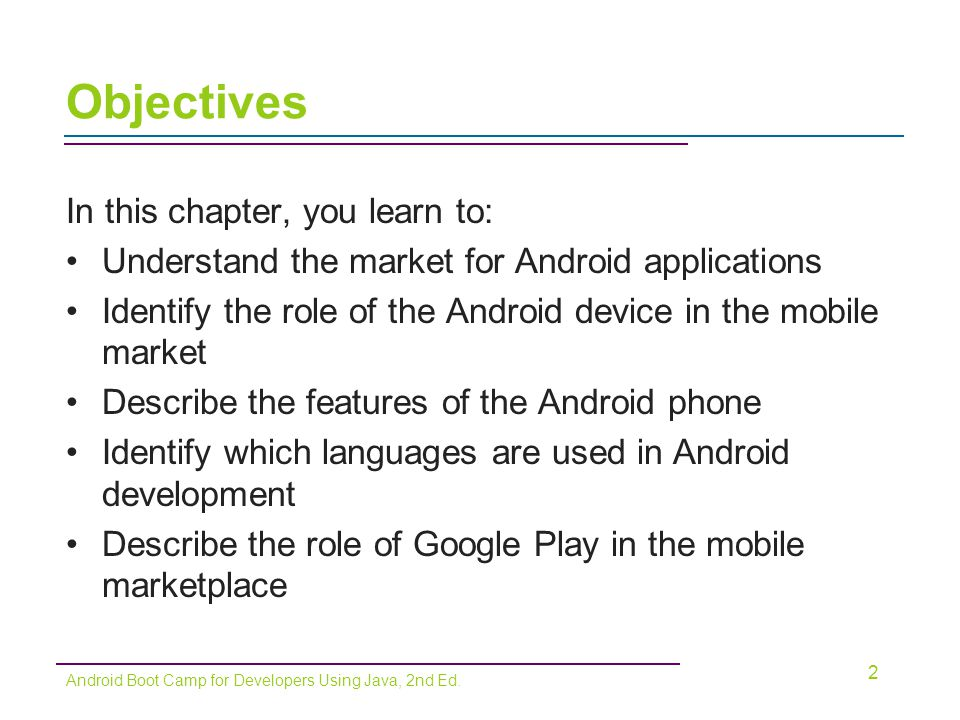 Building the User Interface –Must be intuitive –Interface must not distract from functionality –Java code or XML layout files are needed XML method is preferred Can design interface without writing large amounts of code 13 Android Boot Camp for Developers Using Java, 2nd Ed.