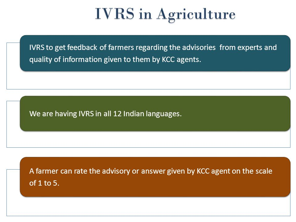 IVRS in Agriculture IVRS in Agriculture IVRS to get feedback of farmers regarding the advisories from experts and quality of information given to them