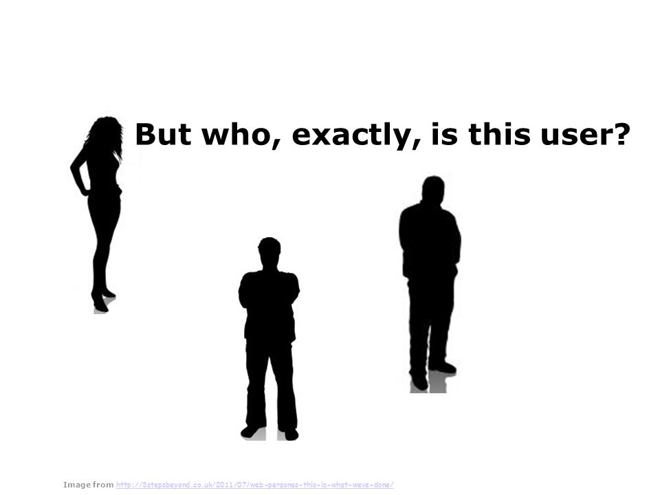 Presentation by Saul Greenberg Personas Characteristics based on research archetypes represented as individual people not a real person, but a composite archetype oeach represents groups of users As a set explores ranges of archetypes and behaviours