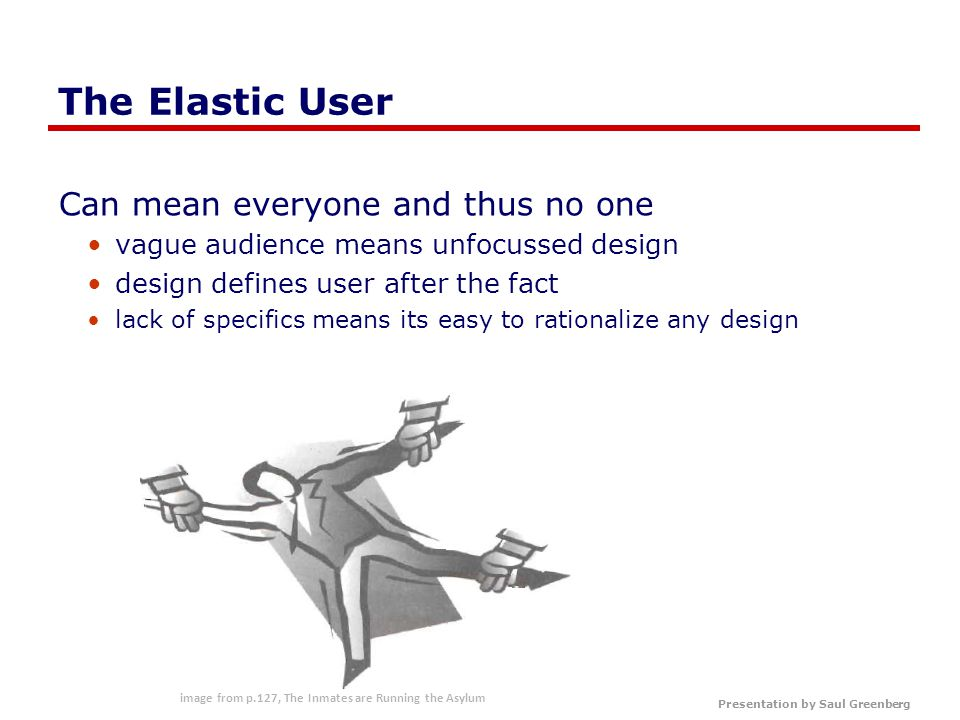 Presentation by Saul Greenberg Persona Basic structure specific narrative describes a specific usage pattern embodied in a specific fictional user by means of text and images and based on data Includes name photo goals and a mix of key characteristics motivations context activities narrative story representative quotes pain points…
