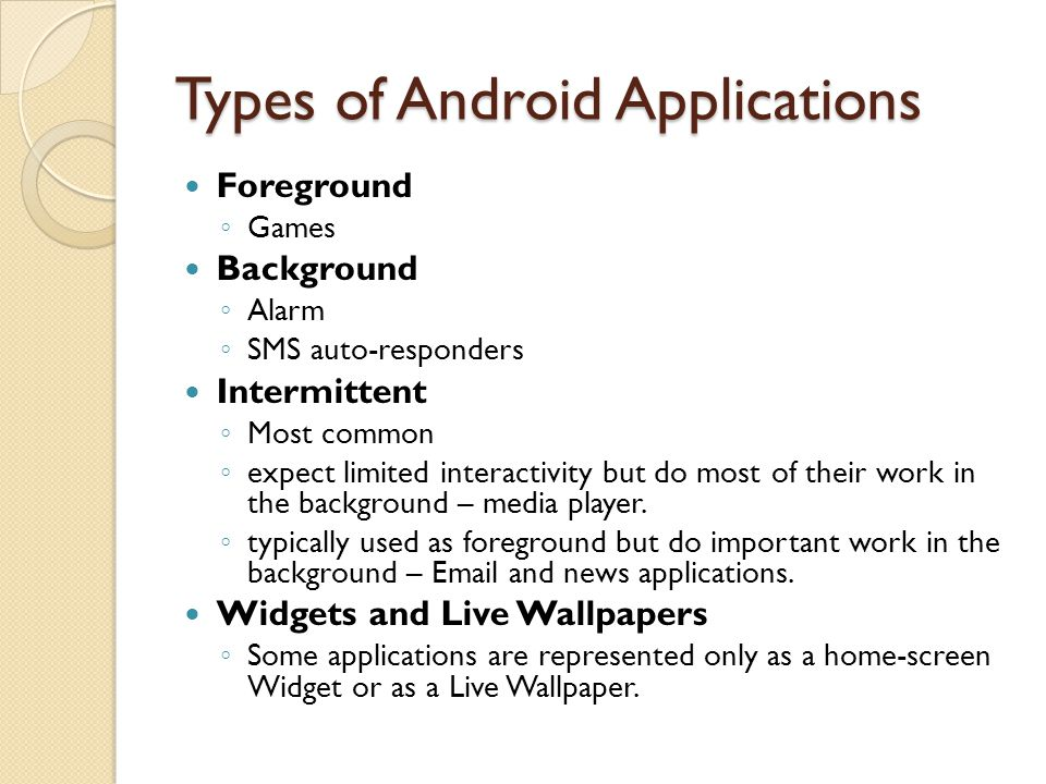 Types of Android Applications Foreground ◦ Games Background ◦ Alarm ◦ SMS auto-responders Intermittent ◦ Most common ◦ expect limited interactivity bu
