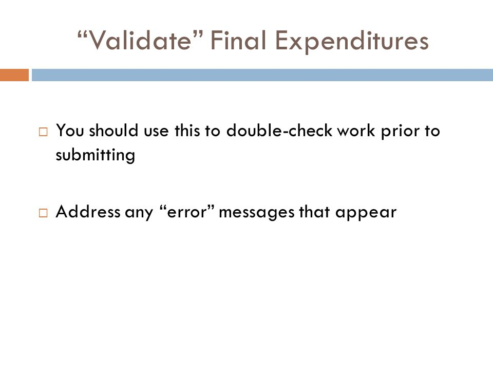 Validate Final Expenditures  You should use this to double-check work prior to submitting  Address any error messages that appear