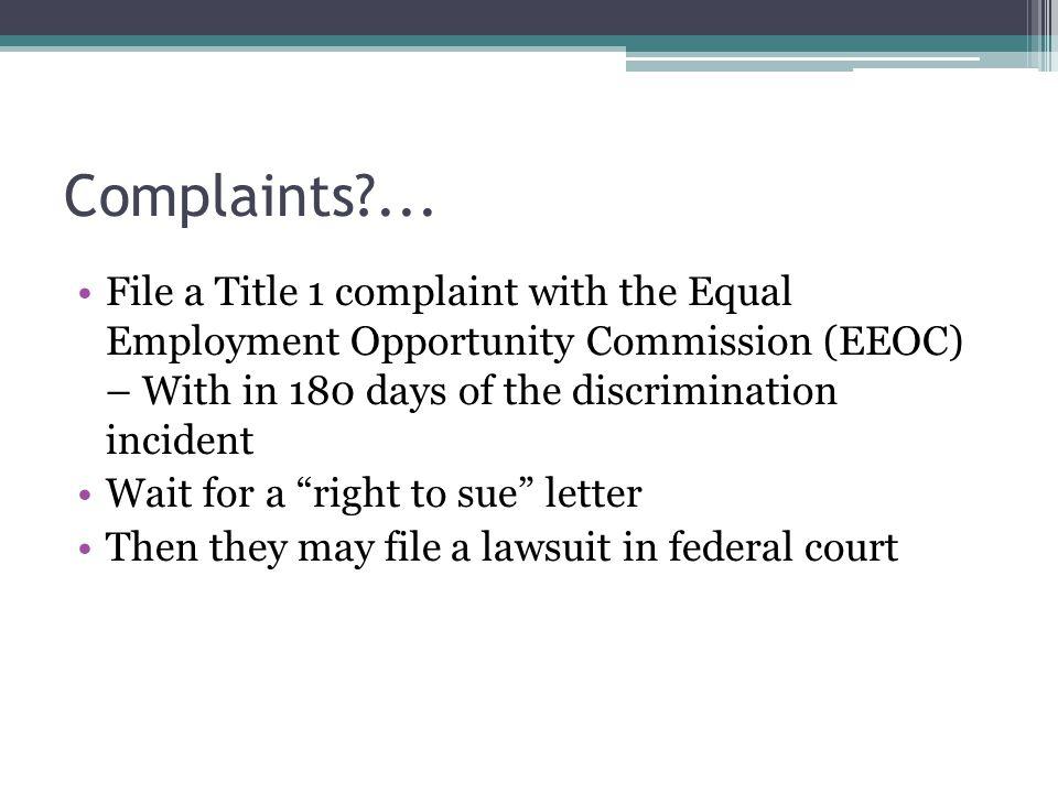 Complaints ...