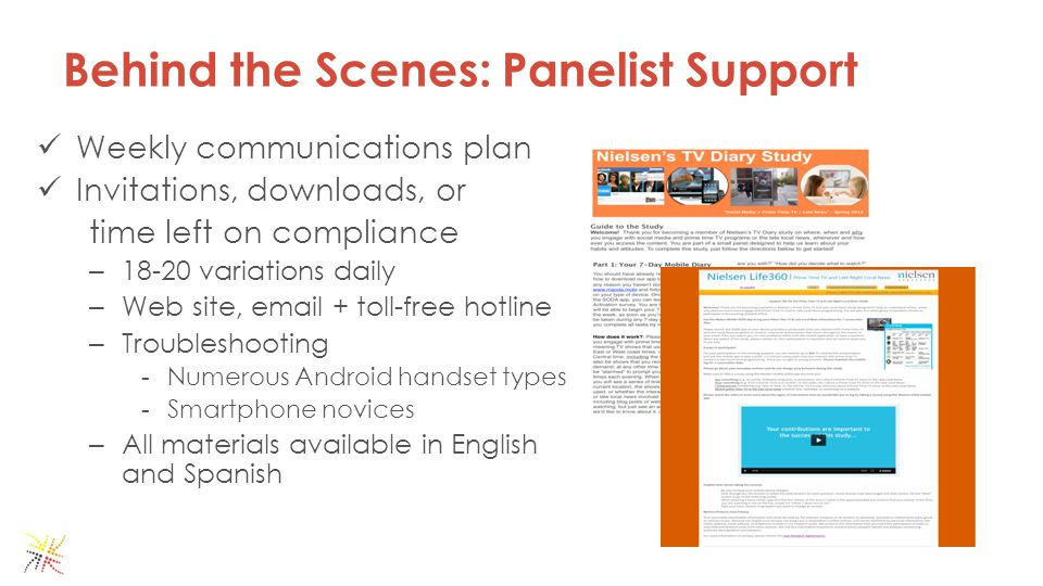 Weekly communications plan Invitations, downloads, or time left on compliance – 18-20 variations daily – Web site, email + toll-free hotline – Troubleshooting - Numerous Android handset types - Smartphone novices – All materials available in English and Spanish Behind the Scenes: Panelist Support