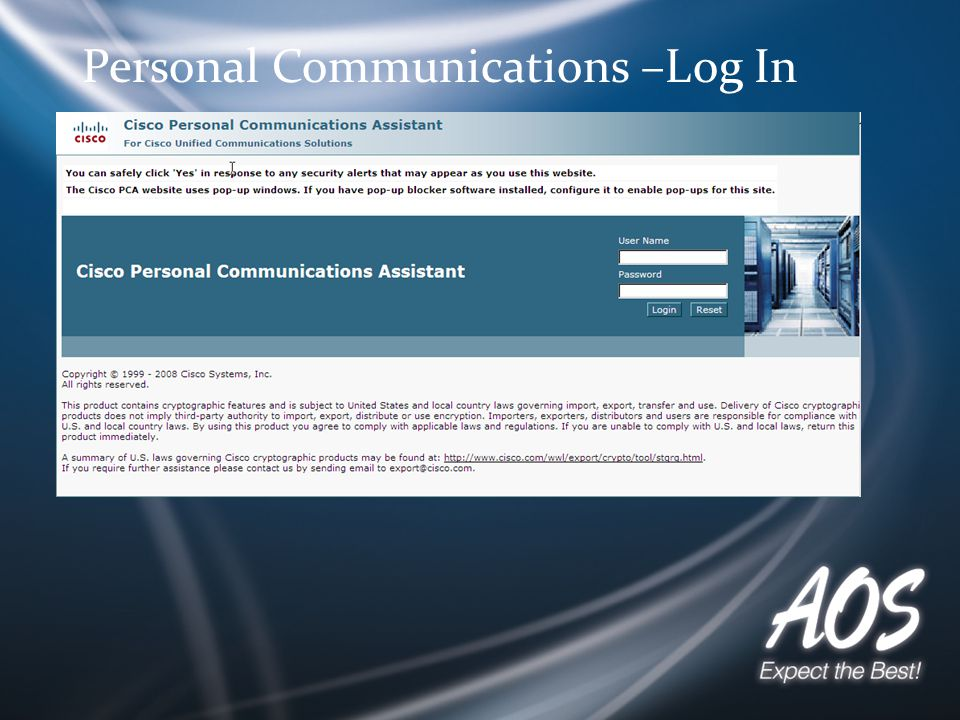 Personal Communications –Log In