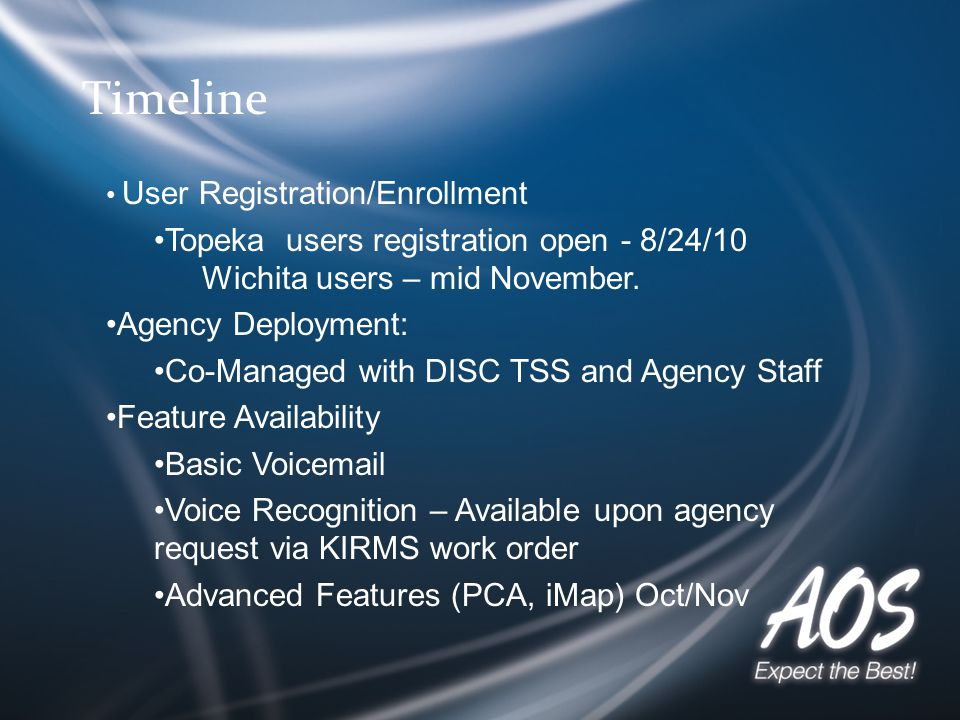 Timeline User Registration/Enrollment Topeka users registration open - 8/24/10 Wichita users – mid November.