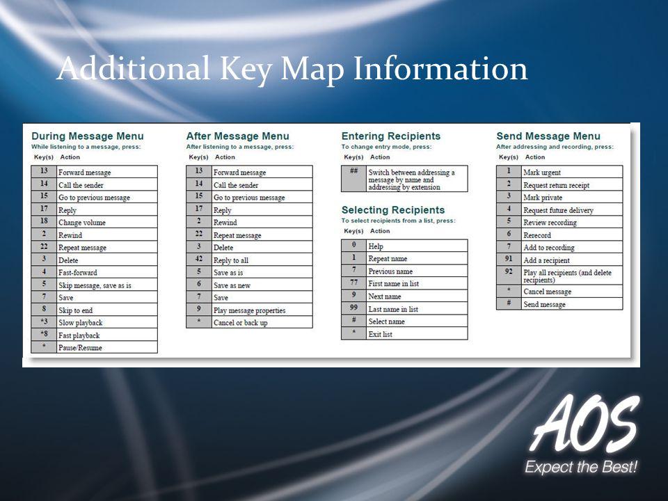Additional Key Map Information