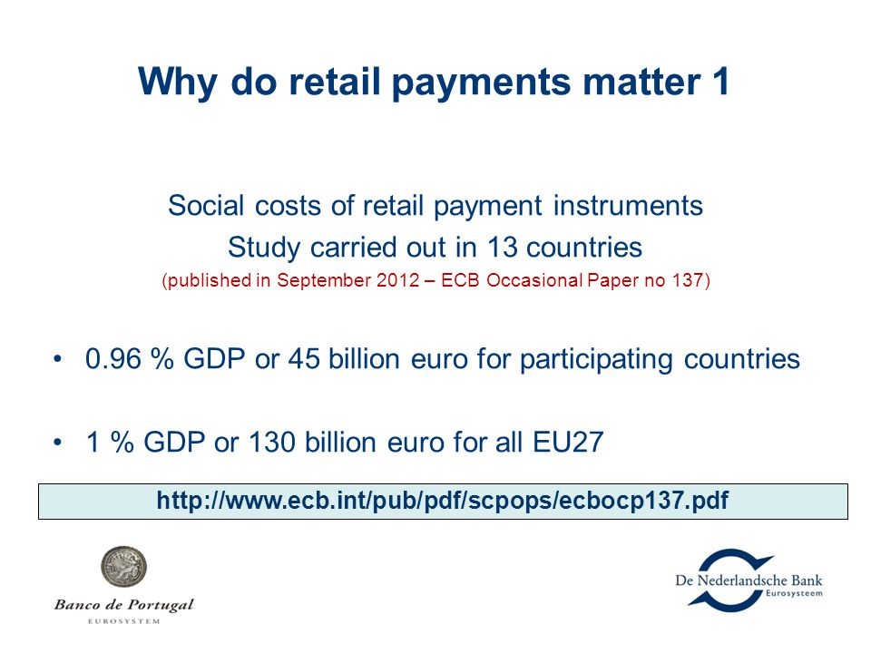 Why do retail payments matter 1 Social costs of retail payment instruments Study carried out in 13 countries (published in September 2012 – ECB Occasi