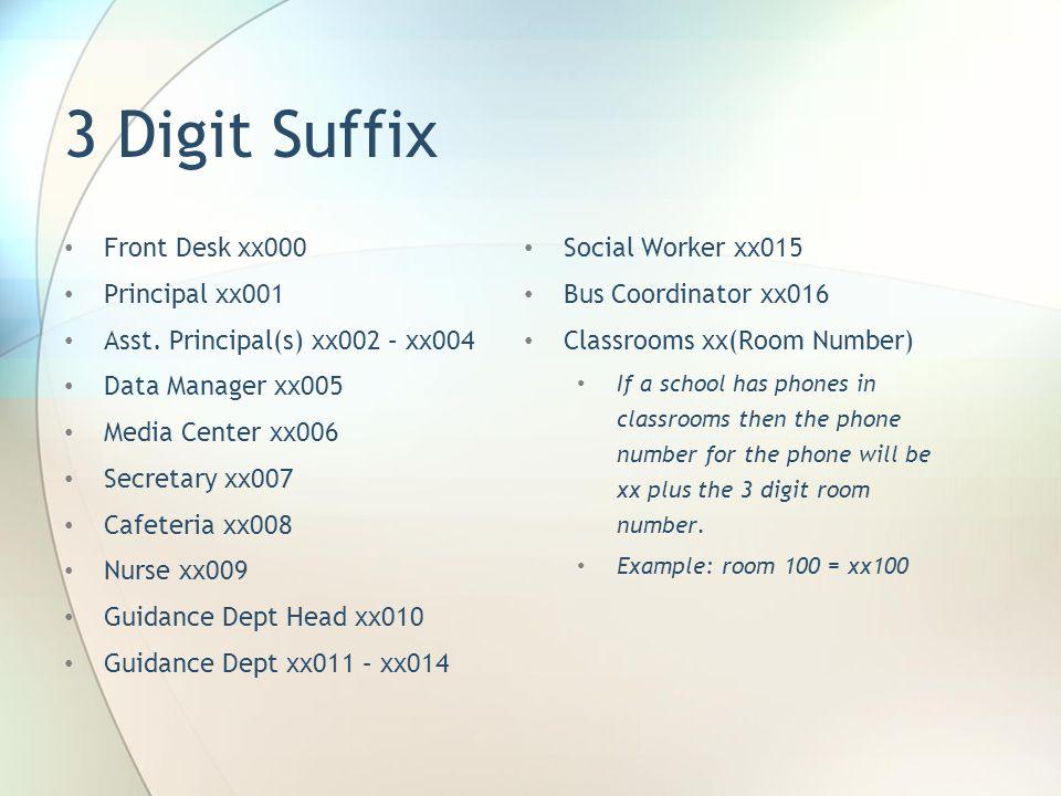 3 Digit Suffix Front Desk xx000 Principal xx001 Asst. Principal(s) xx002 – xx004 Data Manager xx005 Media Center xx006 Secretary xx007 Cafeteria xx008