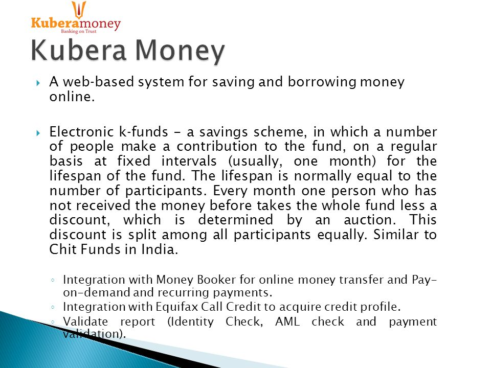  A web‐based system for saving and borrowing money online.