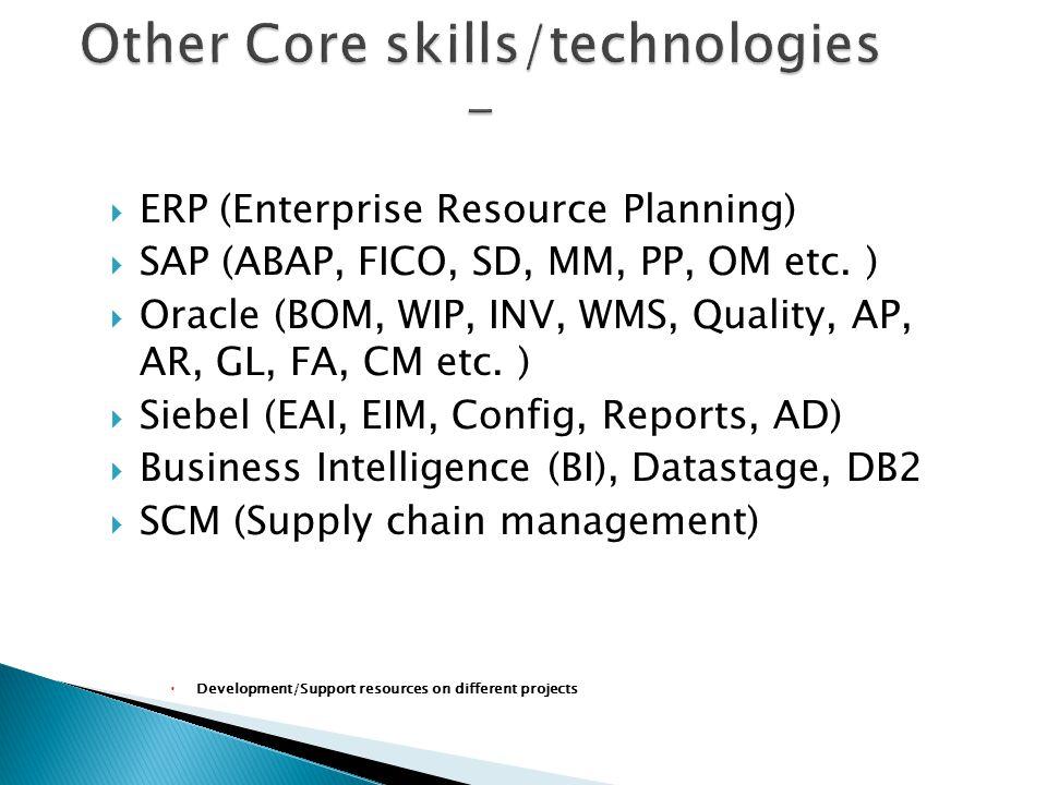  ERP (Enterprise Resource Planning)  SAP (ABAP, FICO, SD, MM, PP, OM etc.