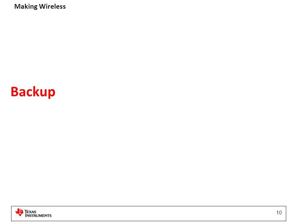 Making Wireless 10 Backup