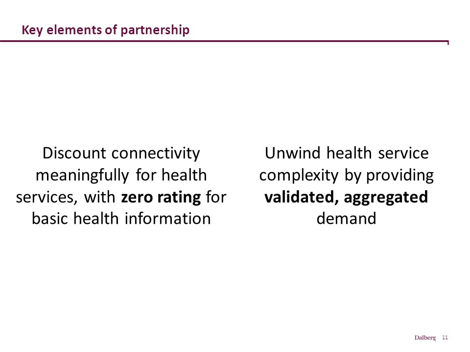 11 Key elements of partnership Unwind health service complexity by providing validated, aggregated demand Discount connectivity meaningfully for health services, with zero rating for basic health information