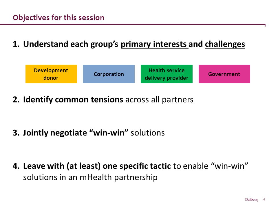 4 Objectives for this session 1.Understand each group's primary interests and challenges 2.Identify common tensions across all partners 3.Jointly nego