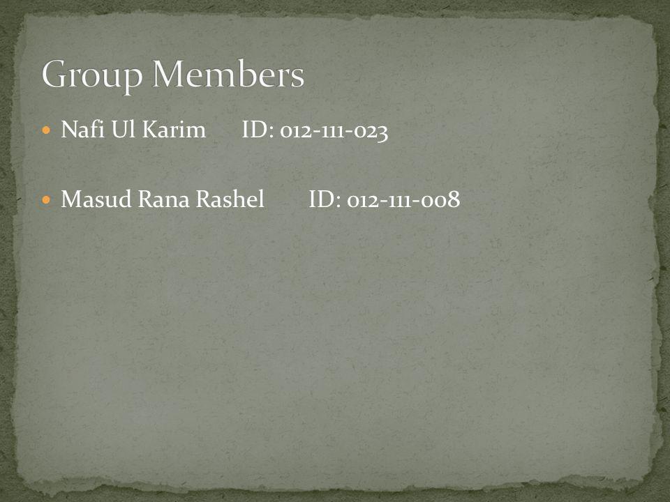 Nafi Ul KarimID: 012-111-023 Masud Rana RashelID: 012-111-008