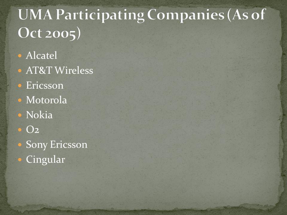 Alcatel AT&T Wireless Ericsson Motorola Nokia O2 Sony Ericsson Cingular