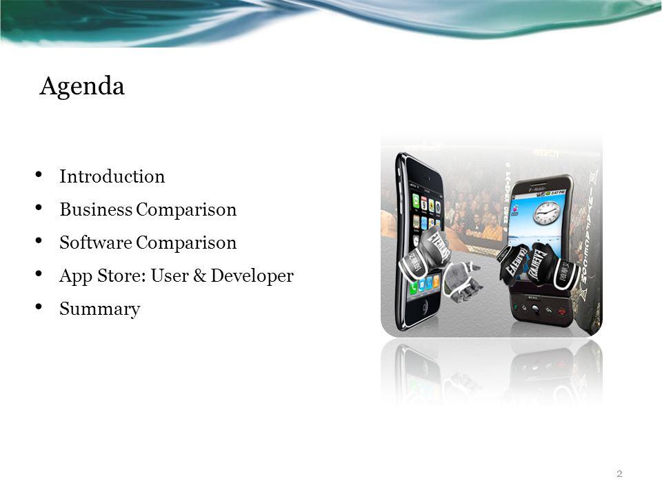 Agenda Introduction Business Comparison Software Comparison App Store: User & Developer Summary 2