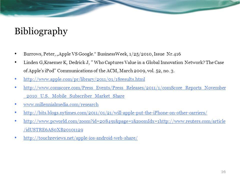 "Bibliography Burrows, Peter, ""Apple VS Google. BusinessWeek, 1/25/2010, Issue Nr.416 Linden G,Kraemer K, Dedrick J, Who Captures Value in a Global Innovation Network."