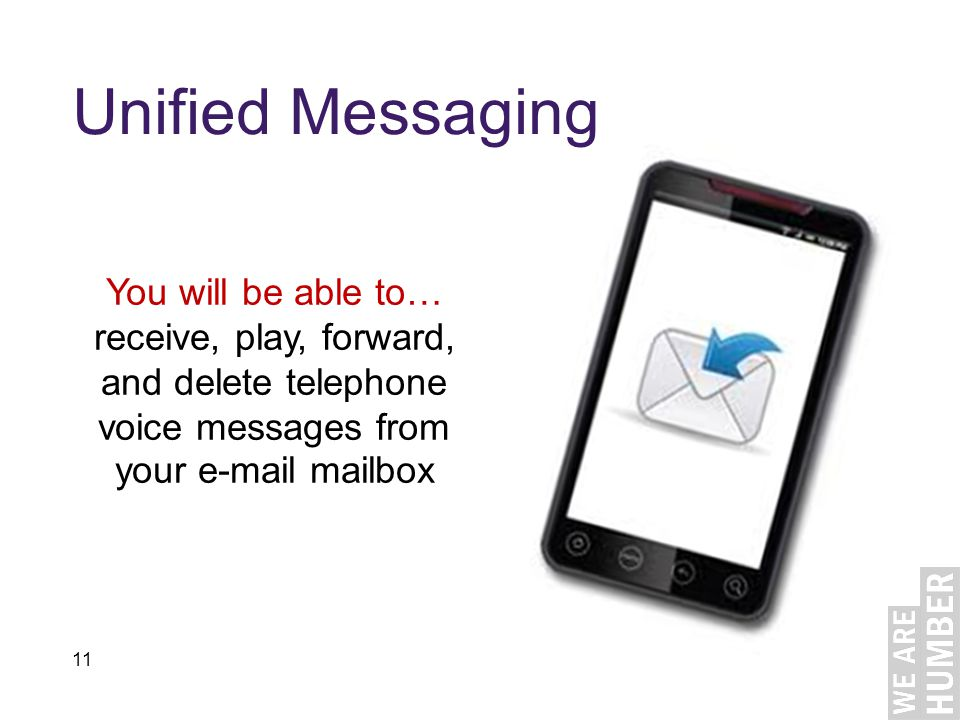 11 Unified Messaging You will be able to… receive, play, forward, and delete telephone voice messages from your e-mail mailbox