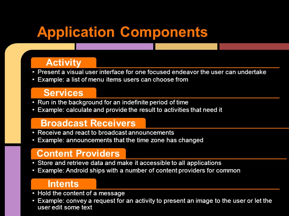 Application Components Activity Present a visual user interface for one focused endeavor the user can undertake Example: a list of menu items users can choose from Services Run in the background for an indefinite period of time Example: calculate and provide the result to activities that need it Broadcast Receivers Receive and react to broadcast announcements Example: announcements that the time zone has changed Content Providers Store and retrieve data and make it accessible to all applications Example: Android ships with a number of content providers for common Intents Hold the content of a message Example: convey a request for an activity to present an image to the user or let the user edit some text