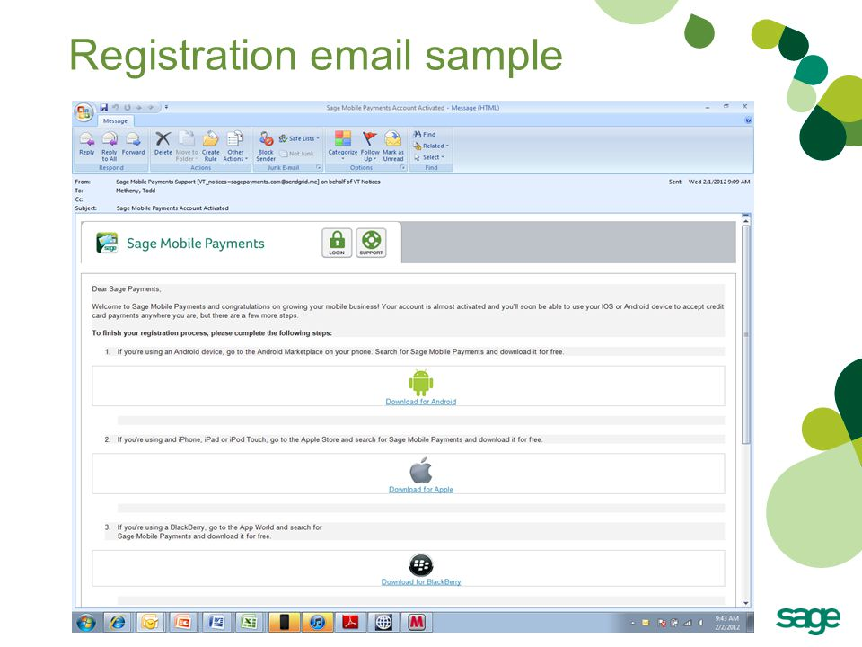 Registration email sample