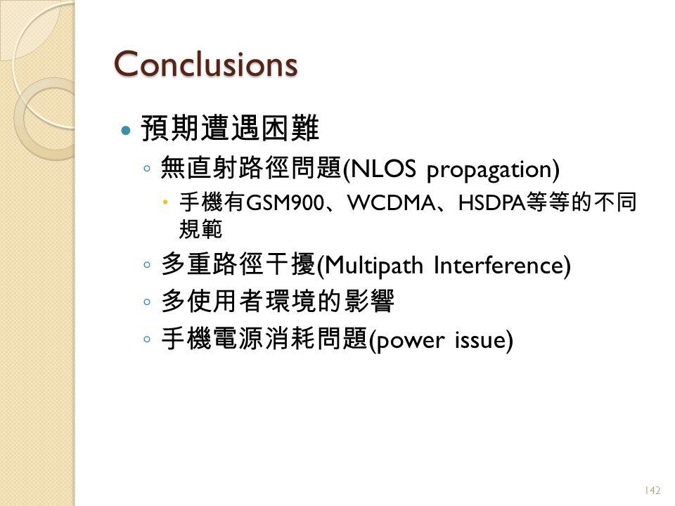 Conclusions 預期遭遇困難 ◦ 無直射路徑問題 (NLOS propagation)  手機有 GSM900 、 WCDMA 、 HSDPA 等等的不同 規範 ◦ 多重路徑干擾 (Multipath Interference) ◦ 多使用者環境的影響 ◦ 手機電源消耗問題 (power issue) 142