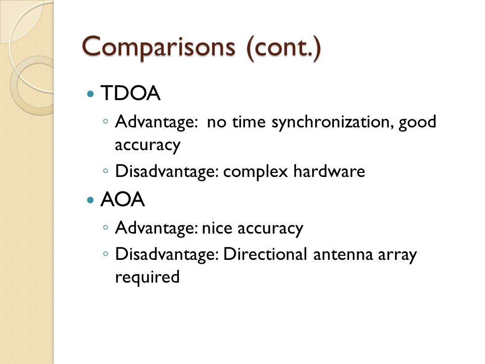 Comparisons (cont.) TDOA ◦ Advantage: no time synchronization, good accuracy ◦ Disadvantage: complex hardware AOA ◦ Advantage: nice accuracy ◦ Disadvantage: Directional antenna array required