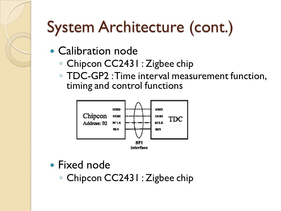 System Architecture (cont.) Calibration node ◦ Chipcon CC2431 : Zigbee chip ◦ TDC-GP2 : Time interval measurement function, timing and control functions Fixed node ◦ Chipcon CC2431 : Zigbee chip