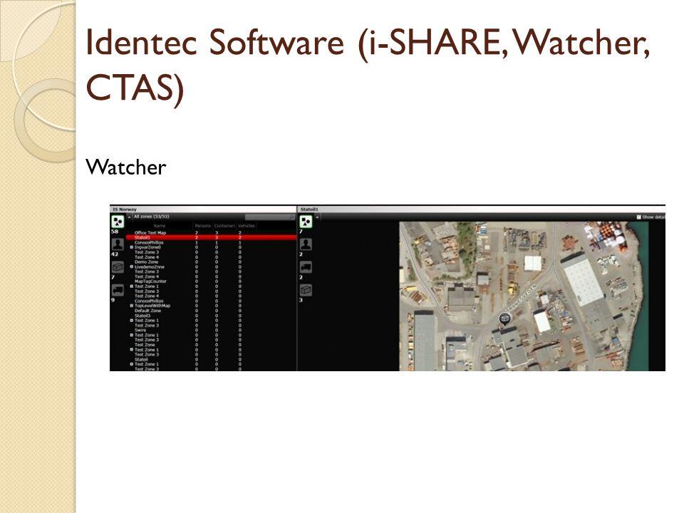 Identec Software (i-SHARE, Watcher, CTAS) Watcher