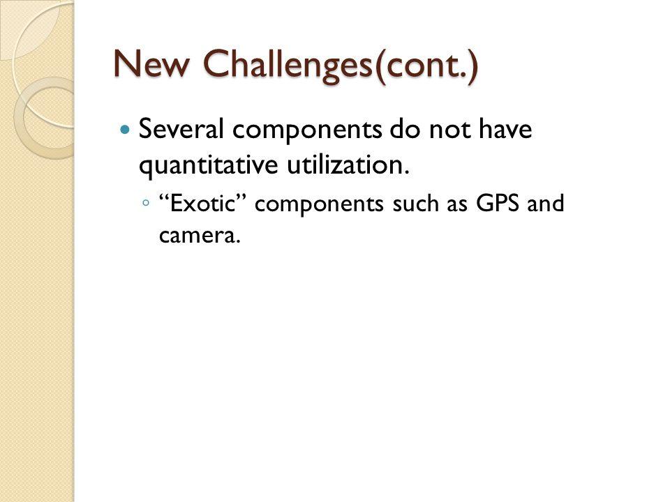 New Challenges(cont.) Several components do not have quantitative utilization.