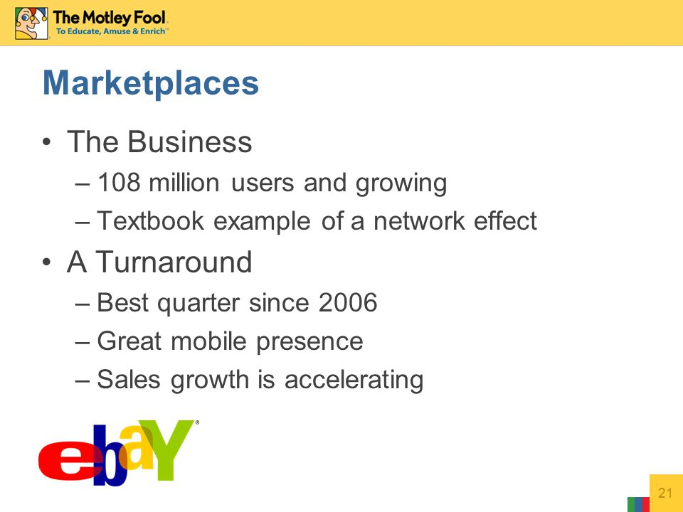 The Business –108 million users and growing –Textbook example of a network effect A Turnaround –Best quarter since 2006 –Great mobile presence –Sales growth is accelerating 21 Marketplaces