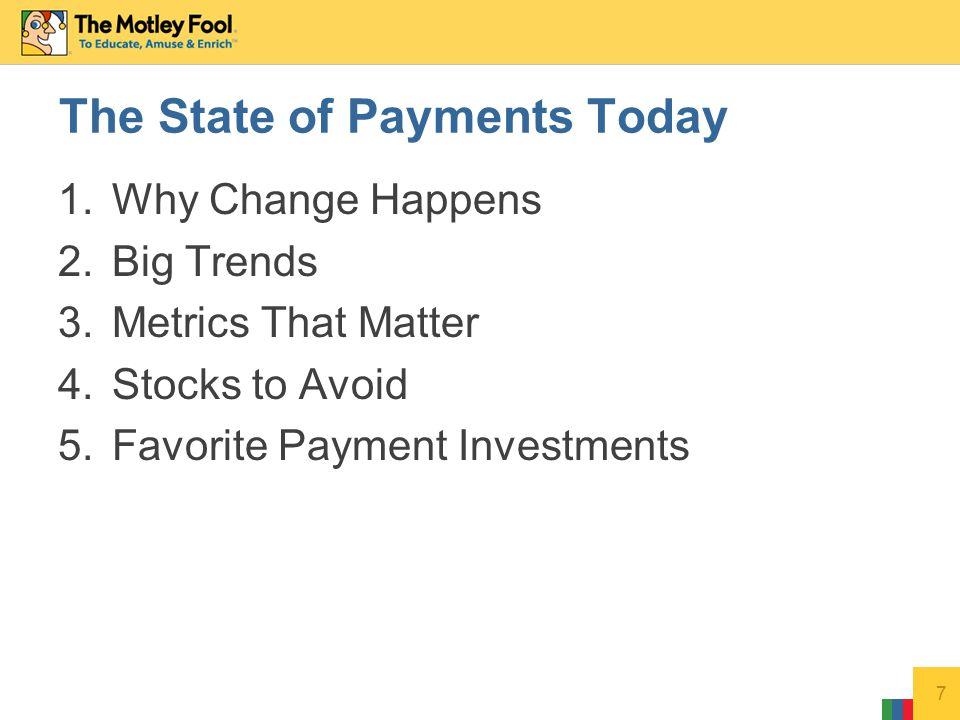 Recent price: $47 Market Cap: $62 Billion T12 Revenue: $13.5 Billion Cash/Debt: $9.1 Billion / $4.5 Billion P/E: 20.2 Dividend Yield: 0.0% Return on Equity: 21.3% 18 Favorite: eBay (Nasdaq: EBAY) Disclosure: Joe owns shares of eBay.