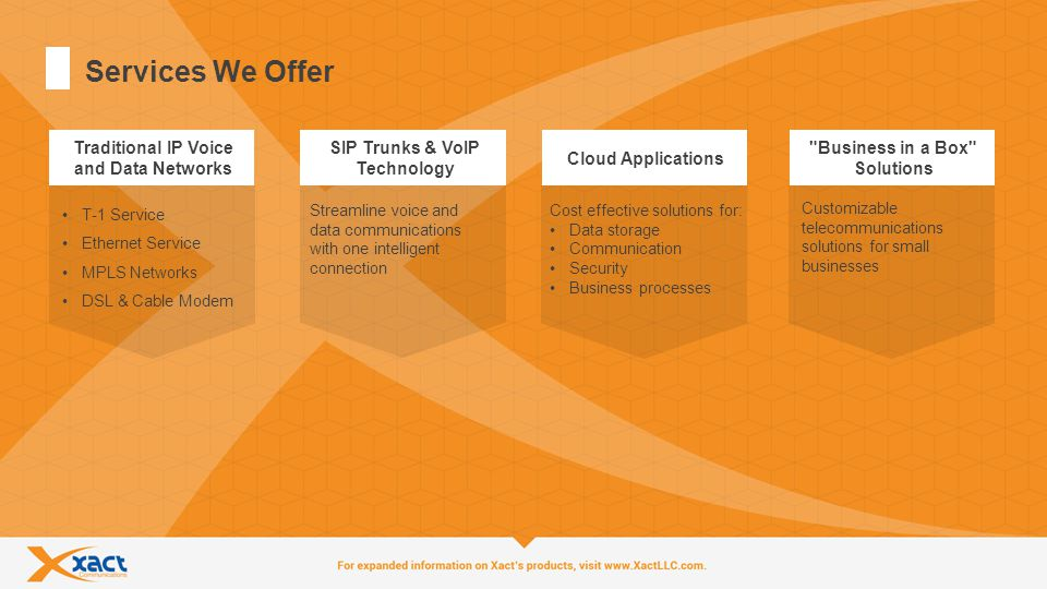 3 Services We Offer SIP Trunks & VoIP Technology Streamline voice and data communications with one intelligent connection