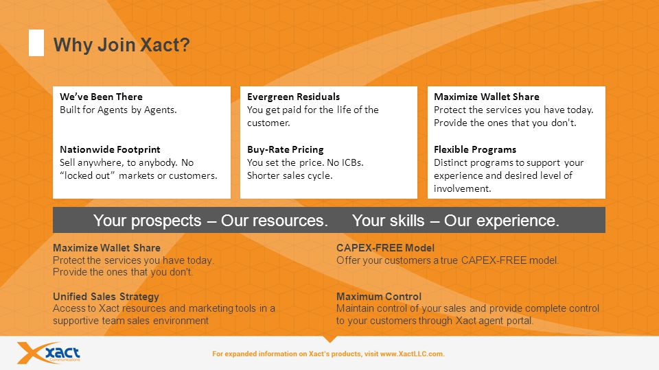 5 Why Join Xact.Your prospects – Our resources. Your skills – Our experience.